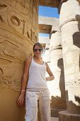 Tourist At Great Hypostyle Hall At Karnak Temple poster