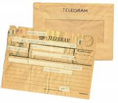 stock photo of telegram  - vintage telegram sheet and envelope from poland - JPG
