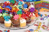Platter Of Cupcakes Decorated With Happy Birthday Theme poster