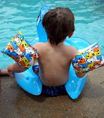 picture of floaties  - a little nervous to jump in the pool - JPG