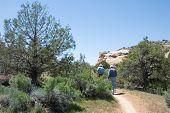 foto of semi-arid  - hikers on rustler - JPG