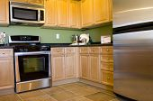 foto of kitchen appliance  - Modern kitchen with stainless steel appliances - JPG