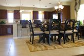 Modern kitchen and dining table