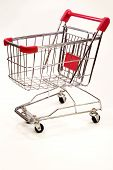 picture of grocery-shopping  - red and silver shopping trolley on white background - JPG