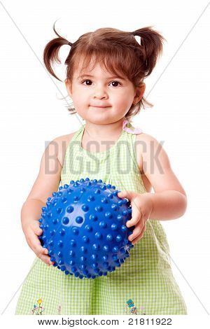 Happy Toddler Girl With Ball
