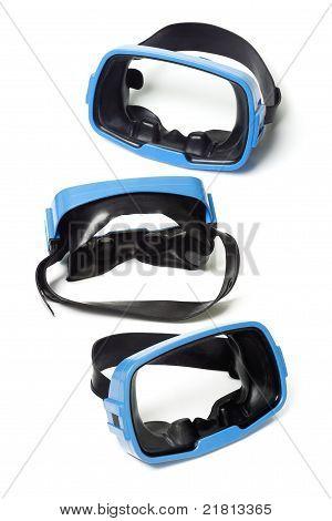 Óculos de natação azul três