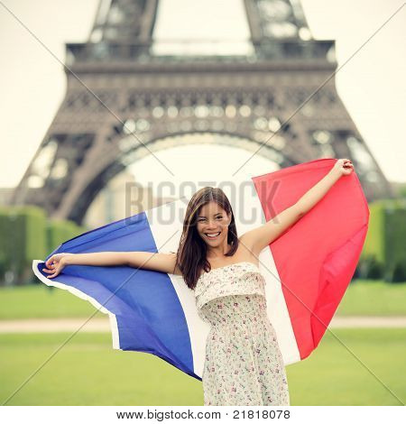 Paris Woman French Flag