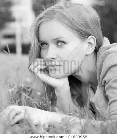 Pretty girl relaxing outdoor
