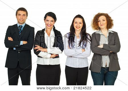 Four Business People Standing In A Line