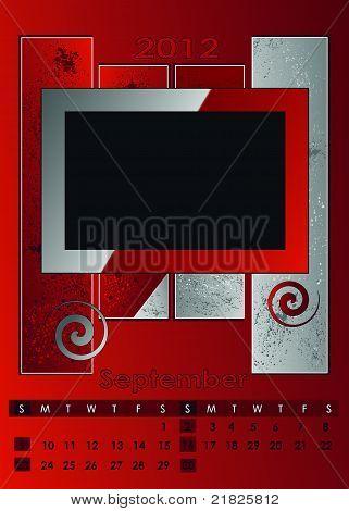 2012 monthly calendar A3 September