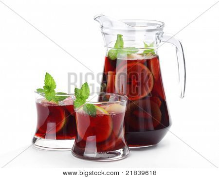Refreshing sangria (punch) on white background