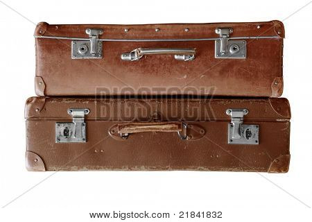two old brown suitcase on white background