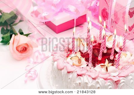 cake with candles, pink, gifts, roses