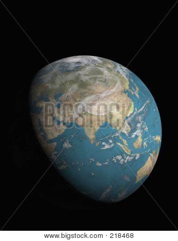 Asia And 3/4 Illuminated Earth