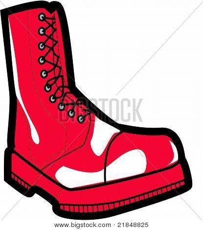 red metal shoe