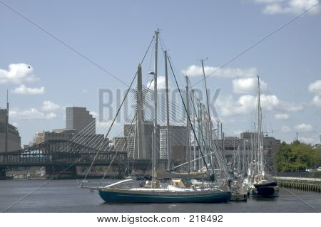 Sailing Boats And Zakim Bridge