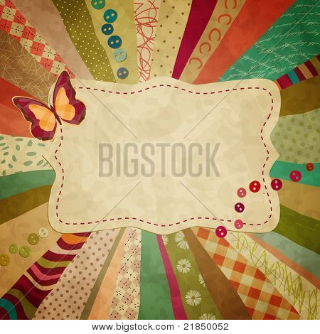 colorful background with pieces of cloth and a butterfly for your photos
