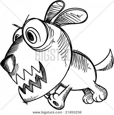 Sketch Doodle Crazy Insane Puppy Dog vector Illustration