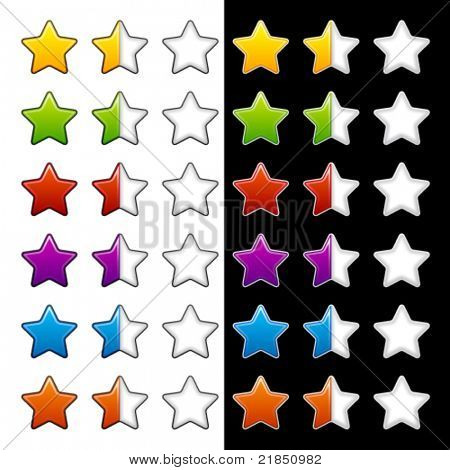 vector whole half and blank rating stars