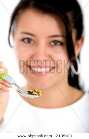 Girl Eating Healthy Cereal