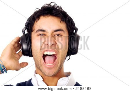 Funky Guy Listening To Music