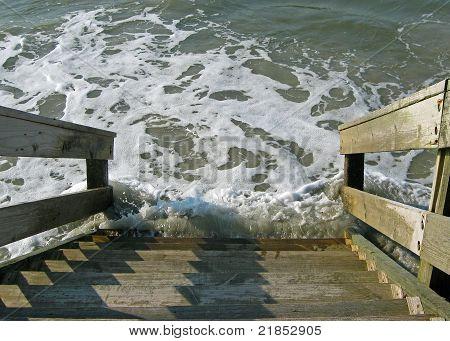 ocean on stairs
