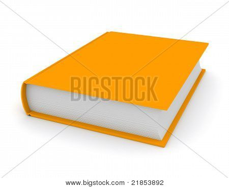 Orange book over white background