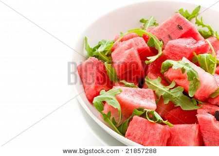 Watermelon And Arugula Salad Isolated