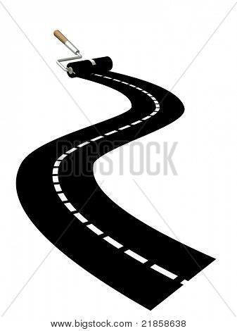 Platen painting road. Isolated over white