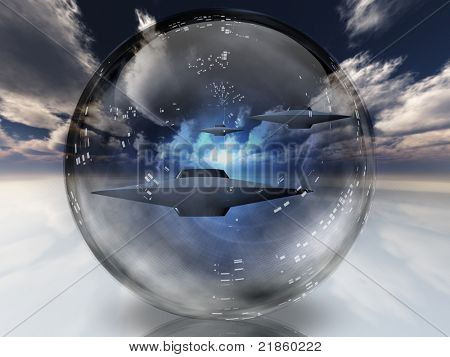 UFOs in clear sphere