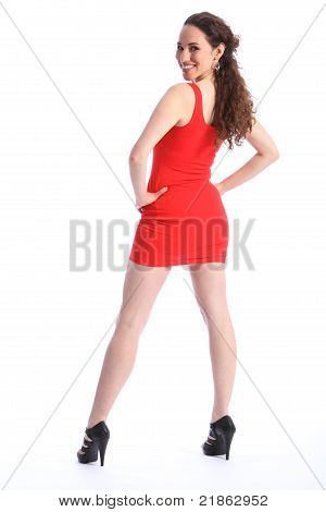 Smile From Happy Young Woman In Short Red Dress