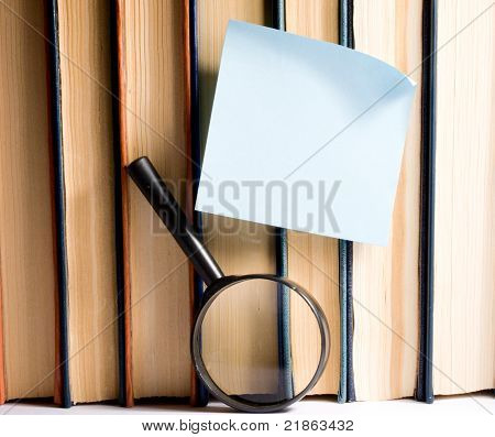 Blue sticker on books