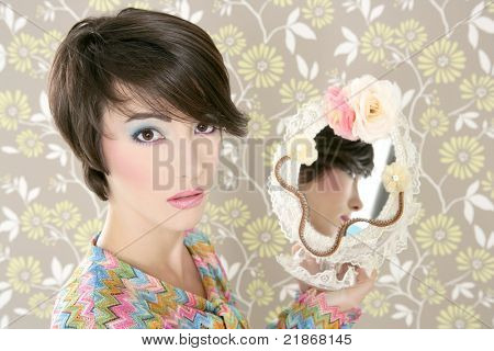 retro woman in mirror reflection fashion portrait on tacky vintage wallpaper
