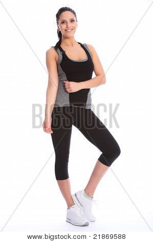 Beautiful Happy Athletic Girl In Exercise Outfit