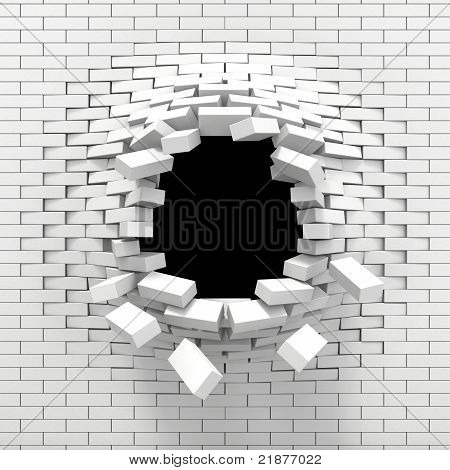 Destruction of a white brick wall