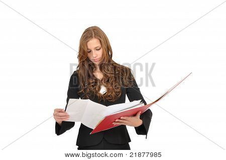 Young Woman Flips Through A Red Folder