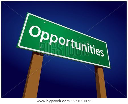 Opportunities Green Road Sign Illustration on a Radiant Blue Background.