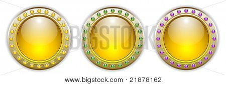 Ornate Yellow Vector Glossy Button Set with 3 Color Combinations of the Outer Ring Elements. See my color and design variations on this theme.