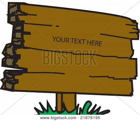vector wooden sign with text space
