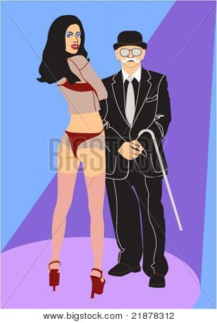 elderly showman with sexual assistant on the scene