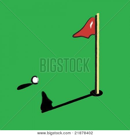 vector clip-art of golf ball near hole and flag