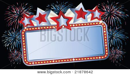 Movie Marquee with Fireworks
