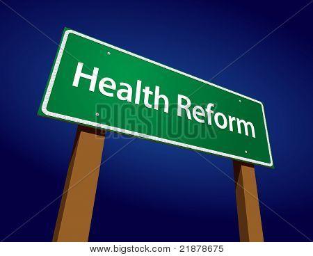 Gesundheit Reform Green Road Sign Vektor-Illustration vor einem strahlend blauen Hintergrund.
