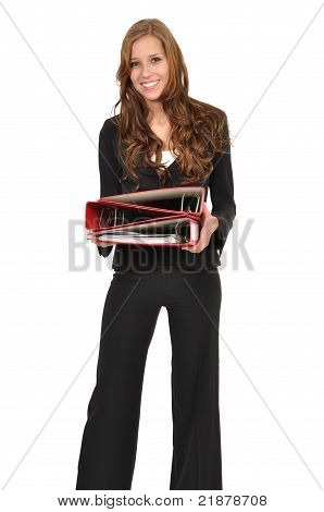 Young Woman In A Suit Wearing Three Red Folder