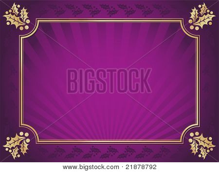 Lustrous Purple and Gold Holly Bordered Background.