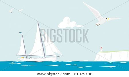 illustration of a sailing yacht cruising on a summer day
