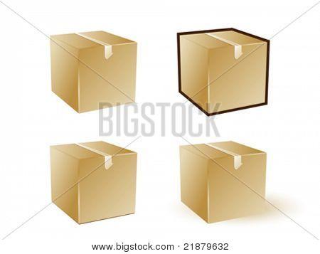 caja de cartón de icono Vector sobre fondo blanco