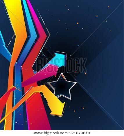 de fundo Vector com uma estrela e setas