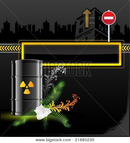 vector icon barrels of radioactive contents, mark