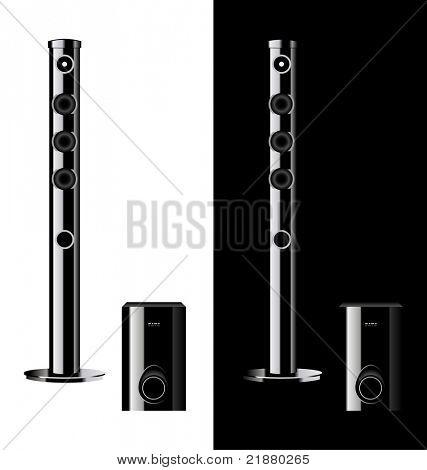 vector black acoustic sound system, loudspeaker